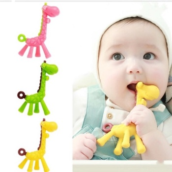 цена на 1PC Silicone Baby Teether Giraffe Teething Toy Stick Kids BPA Free Safe Infant Pacifier Dental Care Chew Toy Chain Accessories