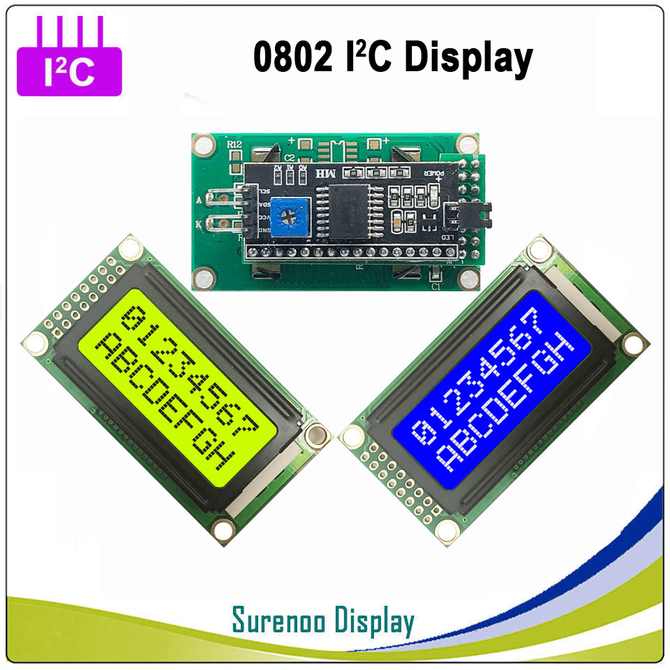 Serial IIC / I2C / TWI 0802 802 8*2 Character LCD Module Display Panel Yellow Green Blue With Backlight For Arduino