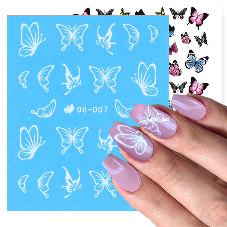 1pcs Butterfly Flower Nail Stickers Luminous Decoration Decals Colorful Water Transfer Nail Art Tips Manicure Slider JIDG-007