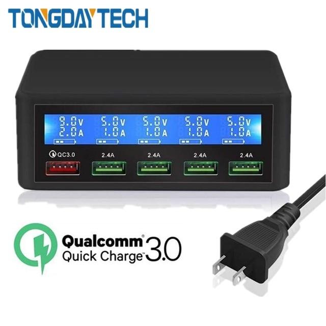 Tongdaytech QC 3.0 טעינה מהירה 5 יציאת Usb LCD תצוגת Carregador רב טלפון מהיר Chargeur עבור Iphone Xiaomi Portatil Cargador