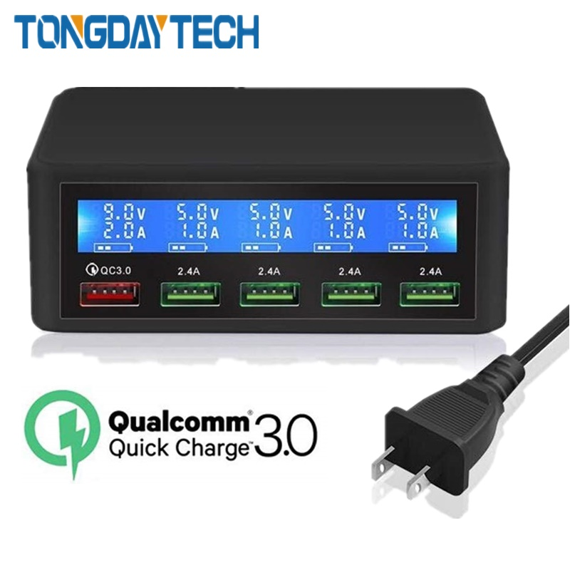 Tongdaytech QC 3.0 Quick Charge 5 Port Usb LCD Display Carregador Multi Phone Fast Chargeur For Iphone Xiaomi Portatil Cargador