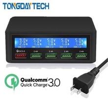 Tongdaytech QC 3.0 Sạc Nhanh 5 Cổng USB Màn Hình LCD Hiển Thị Carregador Đa Điện Thoại Nhanh Chargeur Cho iPhone Xiaomi Portatil Cargador