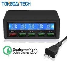 Tongdaytech qc 3.0 빠른 충전 5 포트 usb lcd 디스플레이 carregador 멀티 전화 빠른 충전기 아이폰 xiaomi portatil cargador