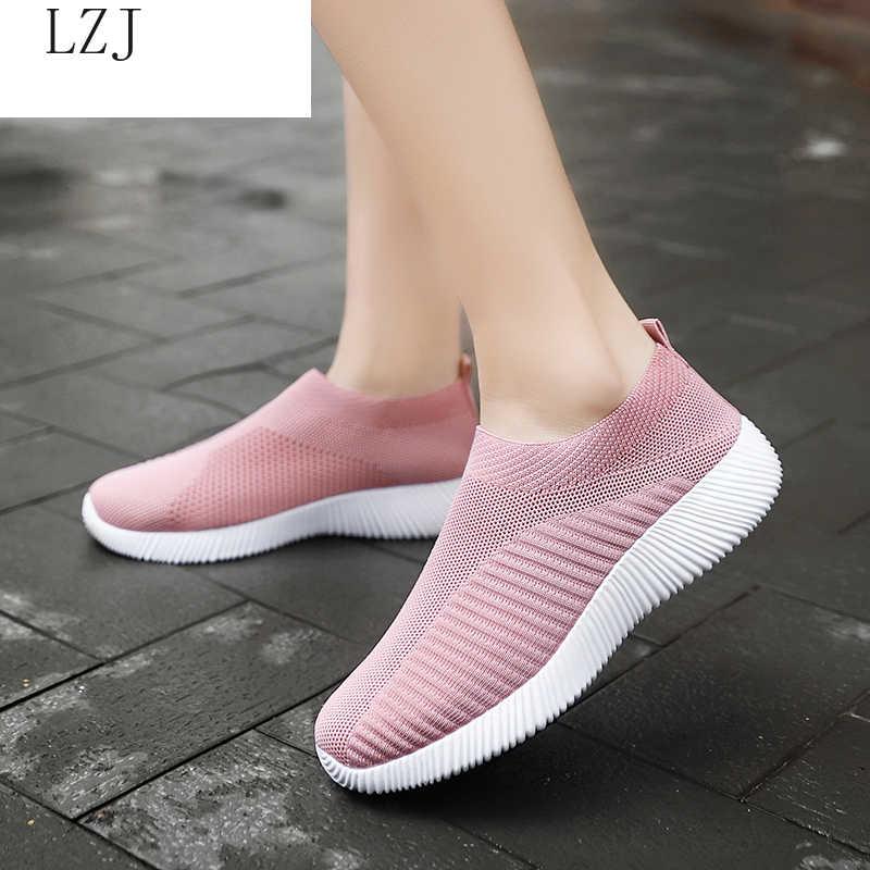 2019 kadın Sneakers vulkanize ayakkabı çorap Sneaker kadın yaz kayma düz ayakkabı kadın artı boyutu mokasen yürüyüş düz 35-42