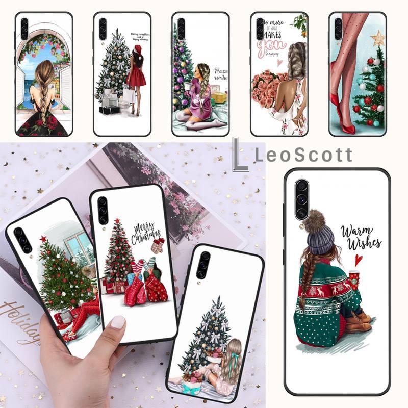 Feliz Navidad pelo marrón chica caja del teléfono para Samsung Galaxy M10 20 30 40 50 70 71 6S A2 A6 A9 2018 J7 PLUS STAR S10 5G C8