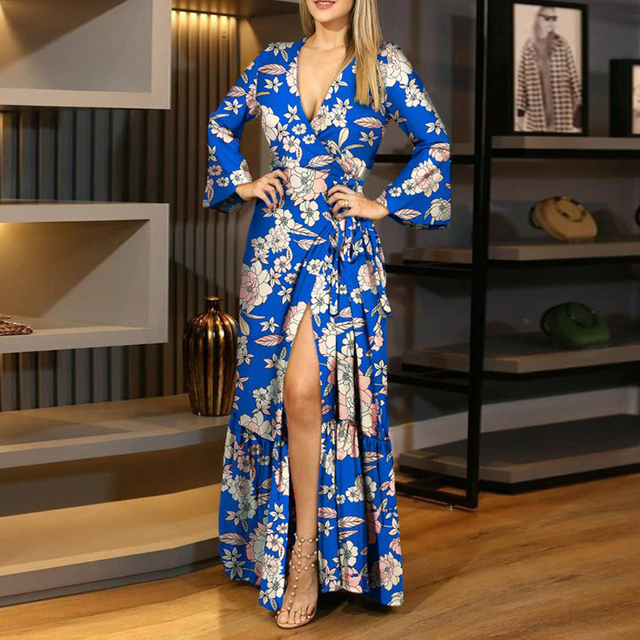 gorgeous long dress with low neckline and knee slit 2