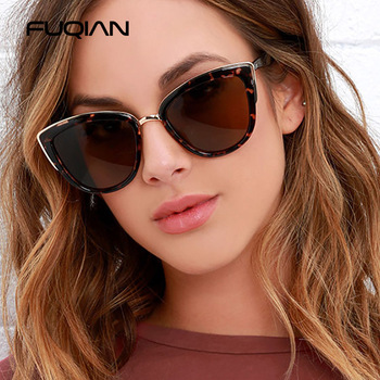 FUQIAN 2020 Cateye Women Sunglasses Vintage Anti-glare Sun Glasses Female Fashion Leopard Shades UV400