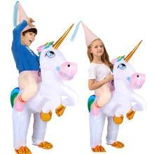 Kids Girls Inflatable Unicorn Costume Boys Animal Cosplay Costumes Child Party Dress Anime Mascot Carnival Halloween Costum