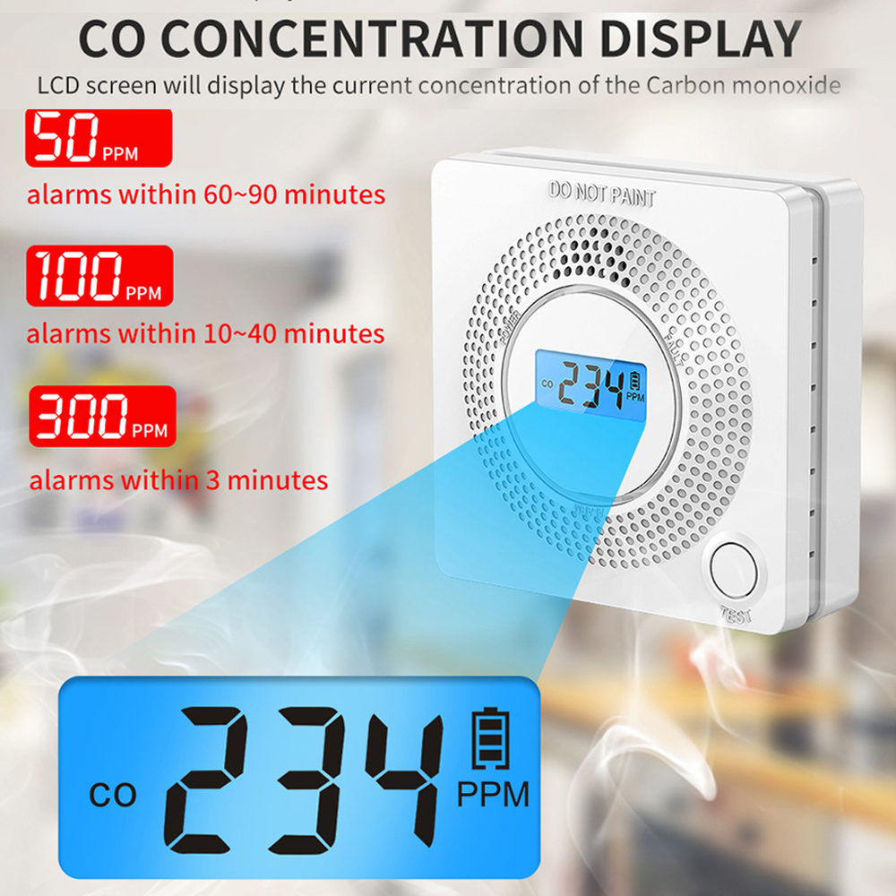 ONLIVING 10-Year Carbon Monoxide Alarm CO Alarm Detector with Digital Display Replaceable Battery Operated Conforms to EN 50291