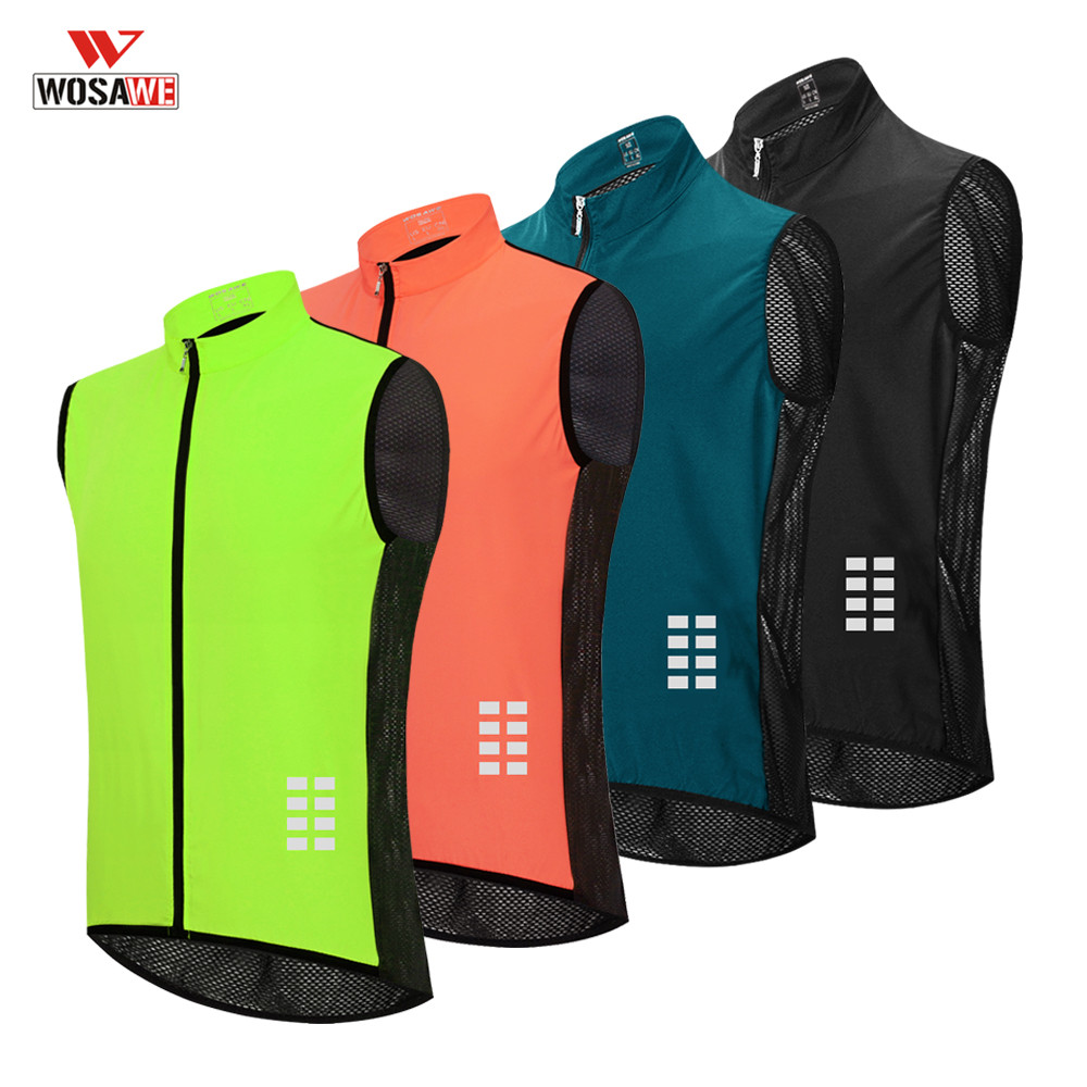 WOSAWE Motorcycle Jacket Sleeveless Reflective Vest Motocross Clothing Breathable Quick Dry Water Resistance Waistcoat