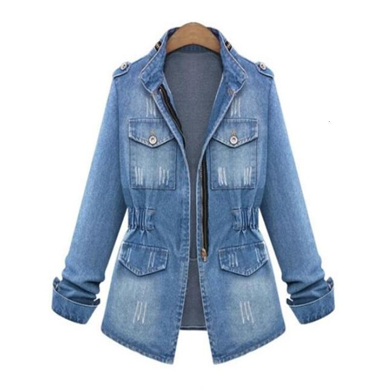 European and American Women Jas New Denim Jacket Large size Long Mouths Denim zip Jas Fashion Women