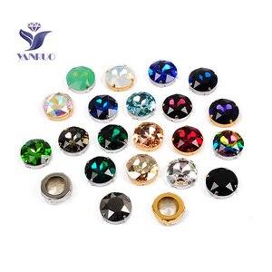 Image 4 - YANRUO 1201 Rivoli 27mm kryształ Vitrail średni szyć na kamienie duży diament okrągły cyrkonie wskazanie z powrotem DIY Craft ubrania