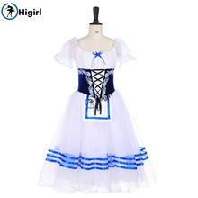 Peasant Girl Professional Ballet Long Tutu Dress blue White Village Performance Tutus Stage CostumeBT9238