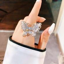 Ustar новые cz кольца бабочки женские блестящие со стразами