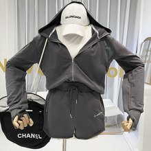 Women Tracksuit  Two Piece Set Top and Shorts Cotton Casual Sprorts Tops with Hooded Elastic Waist 2 Solid