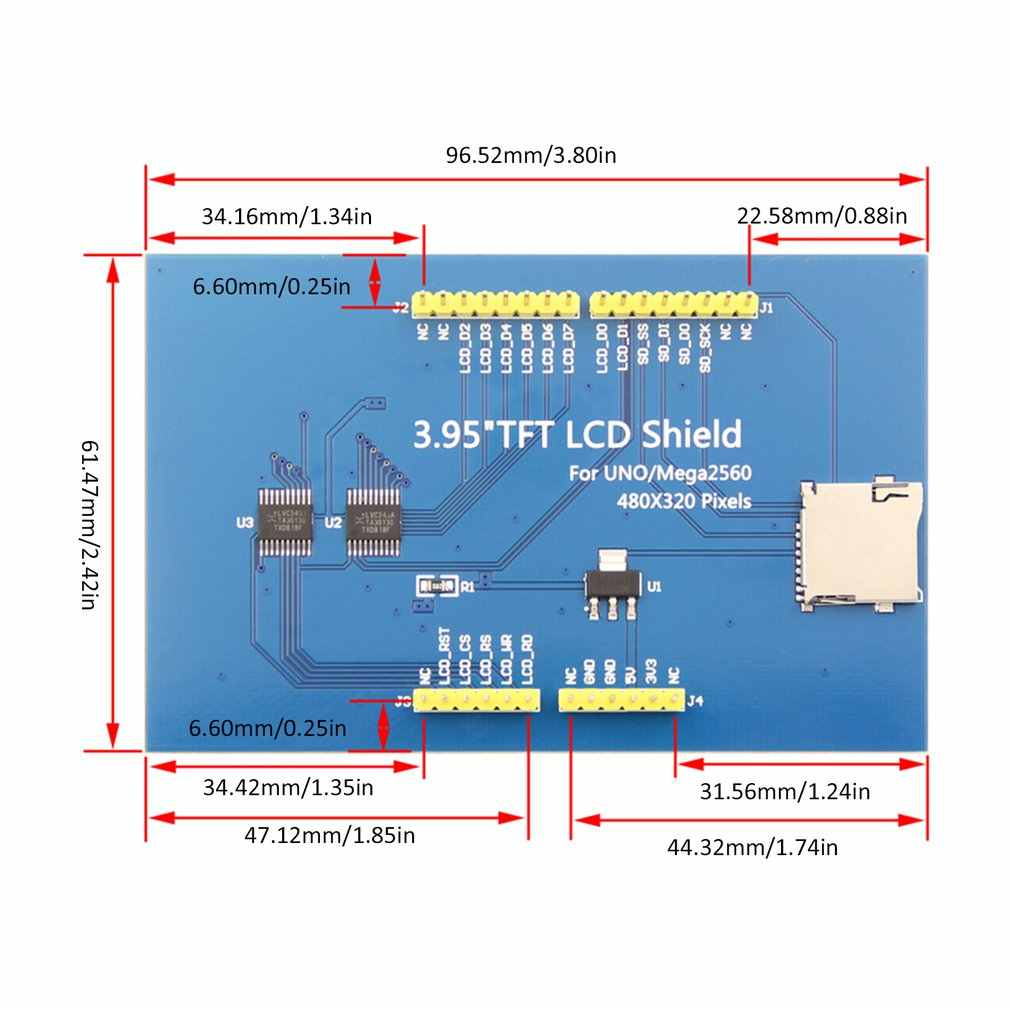 3.95 pouces TFT écran LCD écran tactile 480X320 CH340G Mega 2560 R3 conseil pour Arduino écran de remplacement