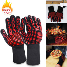 1 Pair Kitchen Fireproof Gloves Heat Resistant Thick Silicone Cooking Baking Barbecue Oven Gloves BBQ Grill Mittens Kitchen Tool cakelove heat resistant bbq glove fire insulation gloves kitchen oven grill bake gloveskitchen tools baking accessories