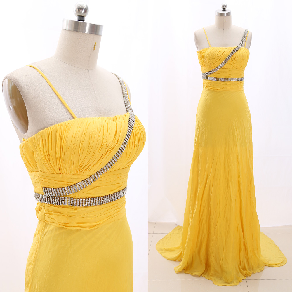 MACloth Yellow A-Line Strap Floor-Length Long Crystal Chiffon   Prom     Dresses     Dress   S 266944 Clearance