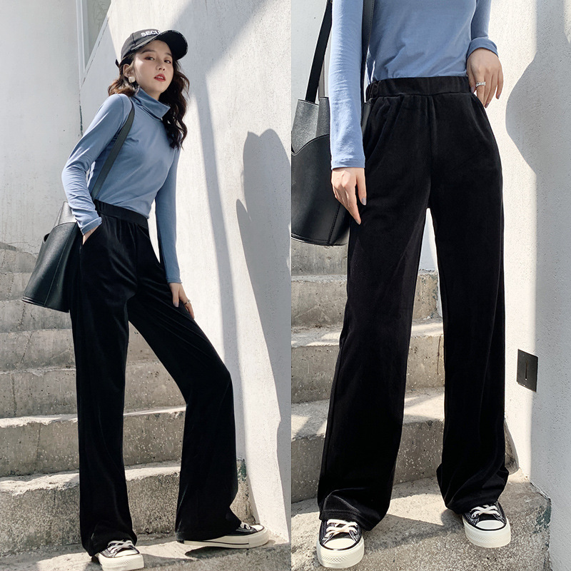 Autumn Winter Velvet Long Wide-leg Pants Women Korean Streetwear Sexy High Waist Trousers Casual Velour Black Red Pants