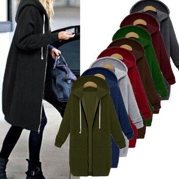 Plus Size Oversized Hoodies Sweatshirt Zipper Hoodies Women Long Jacket Coat 2019 Pockets Zip Up Outerwear Hoodies Drop shipping black side pockets long sleeves outerwear