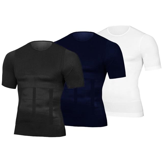 Men Body Toning T-Shirt Body Shaper Corrective Posture Shirt Slimming Belt Belly Abdomen Fat Burning Compression Corset 2