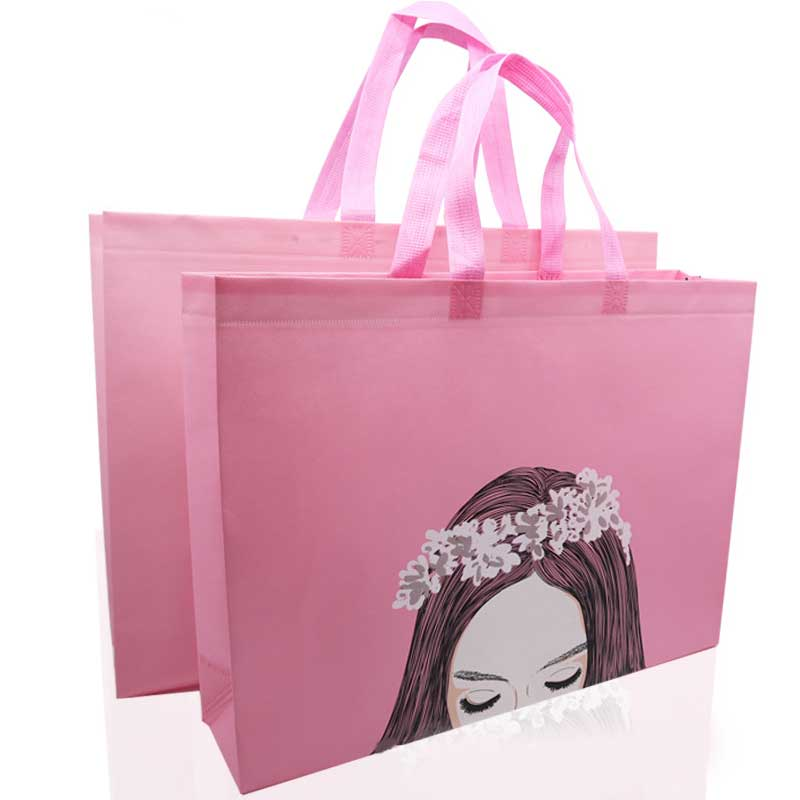 Cute Pink Cartoon Print Shopping Bag Reusable Canvas Eco Bag Large Travel Storage Bag Female Shopping Pouch Shopper Grocery Bags