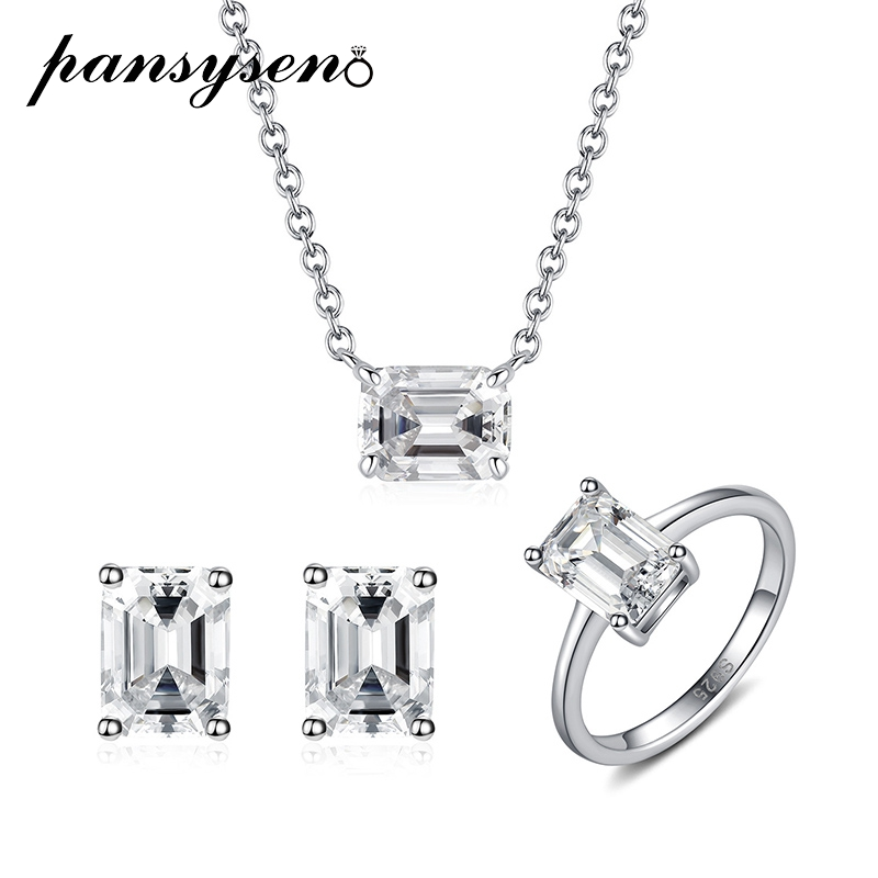 PANSYSEN Luxury 100% Real 925 Sterling Silver 6*8MM Emerald Cut Simulated Diamond Moissanite Necklace/Earrings/Ring Jewelry Sets