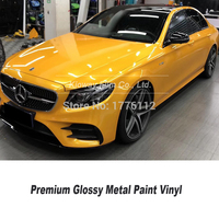 Premium series deep Yellow Vinyl Wrap glossy metallic Film Decal Sheet Glossy Yellow Self Adhesive Film For Car Wrapping Film