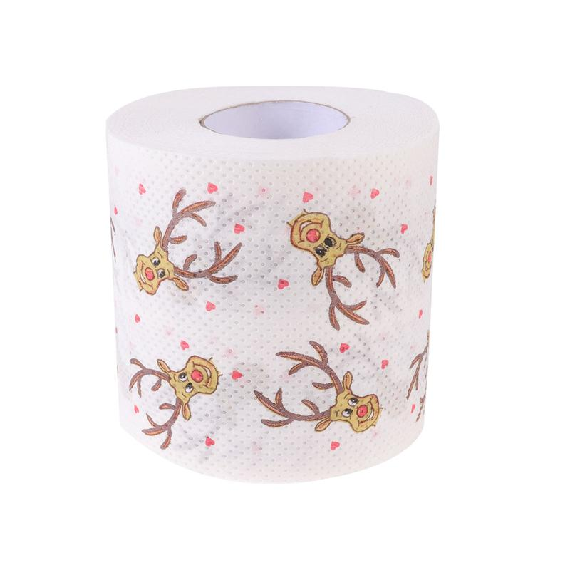 1pc Toilet Paper Roll Coloured Printed Toilet Paper Christmas Deer Patterns Tissue Christmas Elk Printing Roll Paper For Bedside