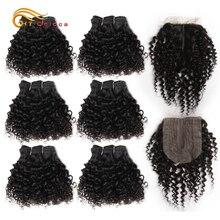Jerry Curl Bundles With T Part Closure Brazilian Curly Hair 6 Bundles and 4*1 Lace Closure Short Human Hair Bundles With Closure