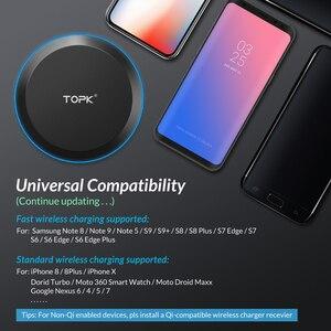 Image 3 - Chargeur sans fil TOPK pour iPhone Xs Max X 8 Plus 10W chargeur rapide pour Samsung Note 9 Note 8 S10 Plus