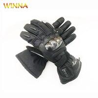 Şarj edilebilir ısıtmalı eldiven sıcaklık göstergesi ile kış açık spor termal el ısıtıcı deri su geçirmez ısıtma eldivenleri