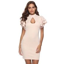 Women elegant ruffle sleeve stand neck wrap dress suit Ladies summer Work office bodycon Party vestidos bandage Mini Dress suits