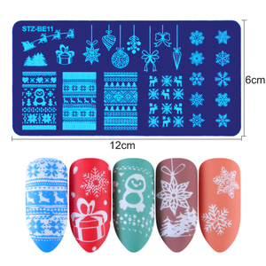 Image 5 - STZ חג המולד עיצובים נייל Stamping צלחות פתיתי שלג צבי מתנת אמנות ציפורן חותמת תבניות סטנסילים פולני מניקור כלים STZ N/להיות