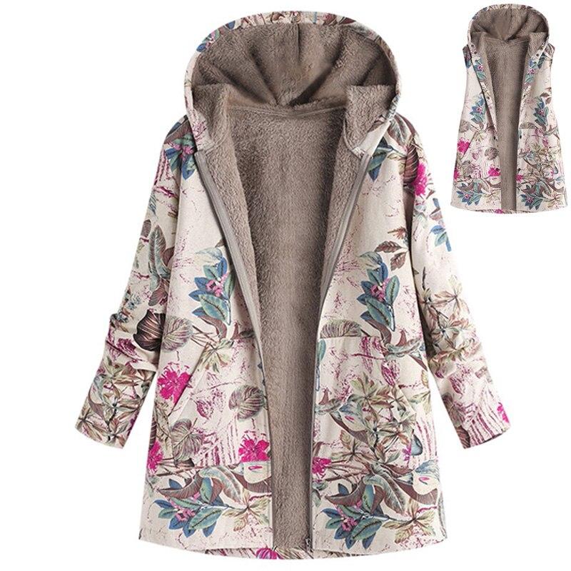 Women Outwear Floral Print Hooded Pockets Vintage Oversize Plush Coats S-5XL Plus Size Female Jacket Winter Warm Overcoat