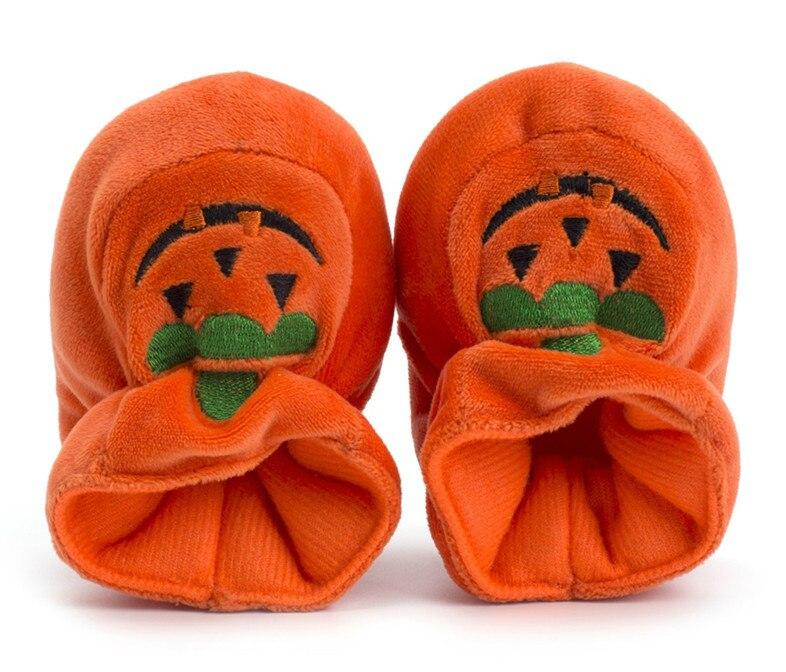2018 Brand New Halloween Newborn Toddler Baby Girl Solid Soft Sole Pumpkin Prewalker Warm Cotton Shoes Baby Crib Shoes 0-18M