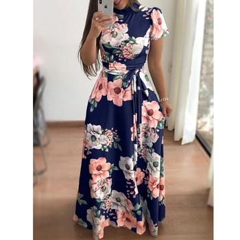 Plus Size Spring Autumn Womne's Dress Bohomia Flower Print Maixi Dresses Fashion Belt Tunic Boho Eveing Party Midi Dress Vestido 5