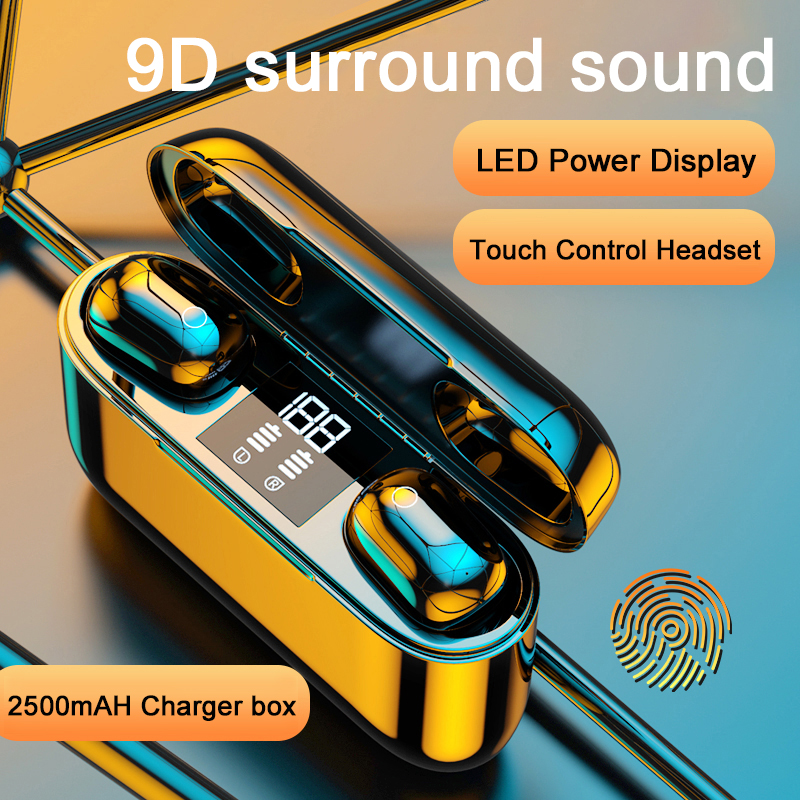 TWS Bluetooth <font><b>Earphones</b></font> Touch Wireless 9D Stereo <font><b>Earphone</b></font> <font><b>Noise</b></font> <font><b>Cancel</b></font> Headphone Sport waterproof Earbuds 2500mAh LED Display image