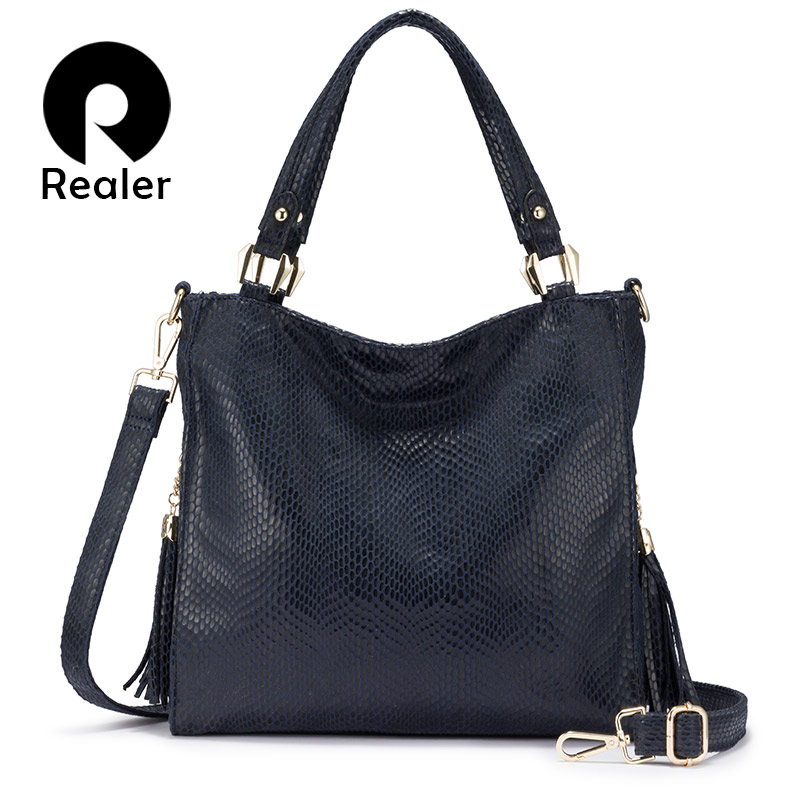 REALER Women Handbag Shoulder Bag Female Crossbody Bags For Women 2019 Luxury Handbag With Top Handle For Ladies Tassel Tote Bag