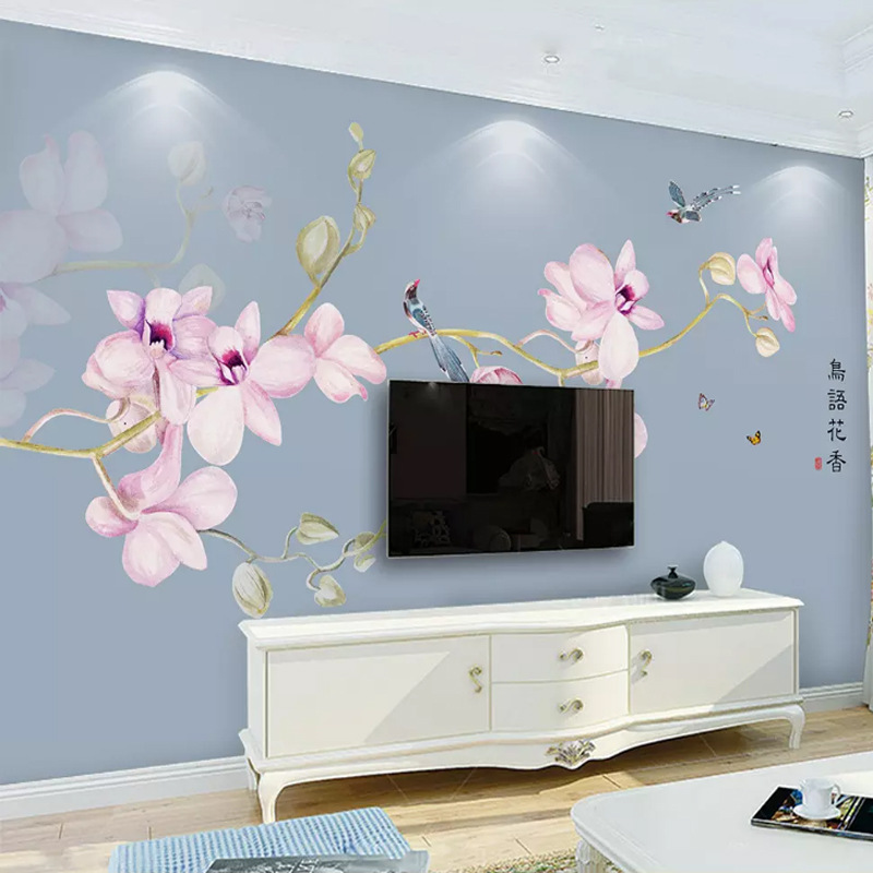 New Chinese Style A Double Branches Wallpaper Living Room Television Background Wall Wallpaper Bedroom Hand-Painted Flowers And