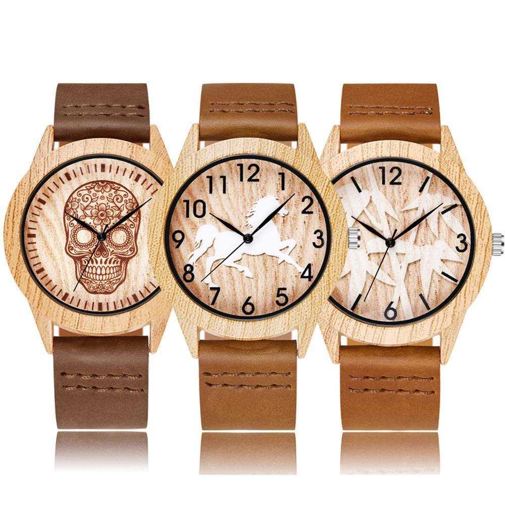 Wood Watch Men Women Couple Quartz Imitation Bamboo Wooden Watch Horse Skull Minimalist Watches Soft Leather Wrist Clock Reloj
