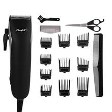 Profissional aparador de cabelo recarregável elétrica máquina de cortar cabelo dos homens aparador de barba com 10 pentes limite + tesoura