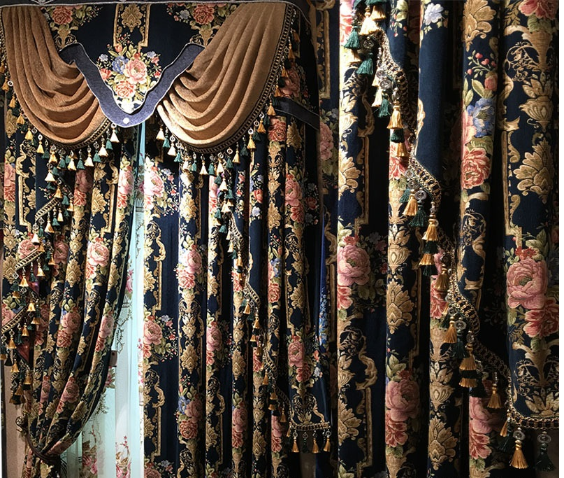 Tulle And European Luxury Curtains For Sharding Window For Living Room/bedroom/coffee/study Printing Flower Embroidered Curtains