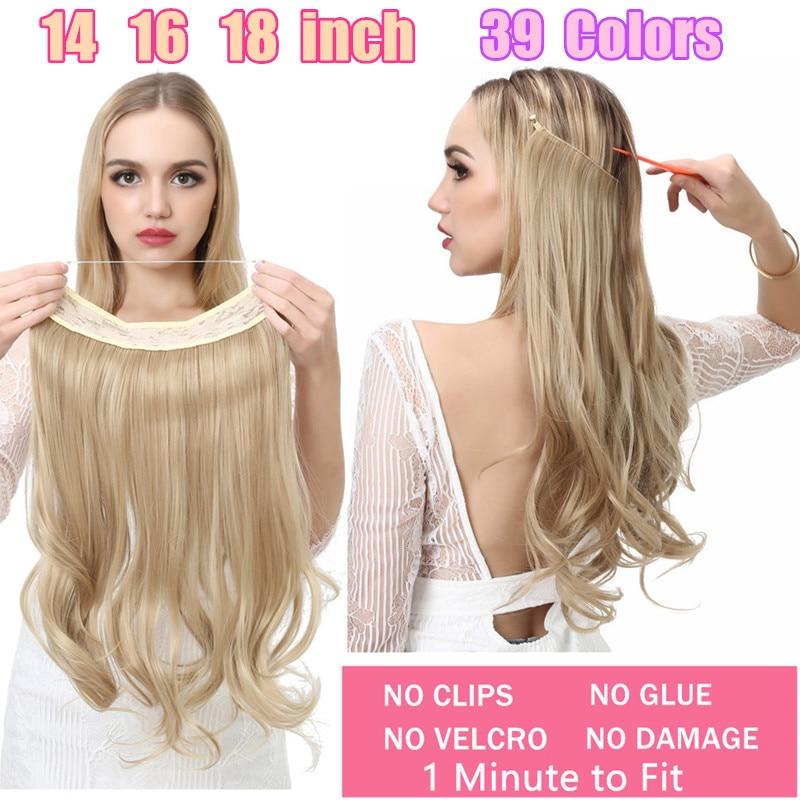 Наращивание волос с волнистым ореолом 12 дюймов 14 дюймов 16 дюймов 18 дюймов без зажима Омбре блонд черный розовый синтетические натуральные с...