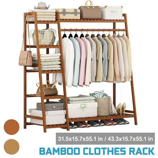 Bamboo Clothes Coat Rack w/ Storage  1