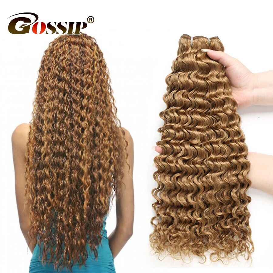 Deep Wave Bundles Honey Blonde Bundles Non Remy Hair Brazilian Hair Weave Bundles Gossip Color 27# 100% Human Hair Bundles