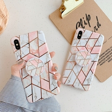 Plating Geometric Marble Holder Stand Phone Case For iphone 11 Pro Max 6 6S 7 8 Plus X XR XS Glossy Soft Silicon Cover