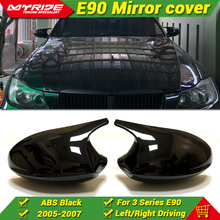 For BMW E90 3 Series Sedan 1:1 Replacement 2-Pcs Side Mirror Cap M3 Look Cover Add on Style ABS Gloss Black 2005-2007