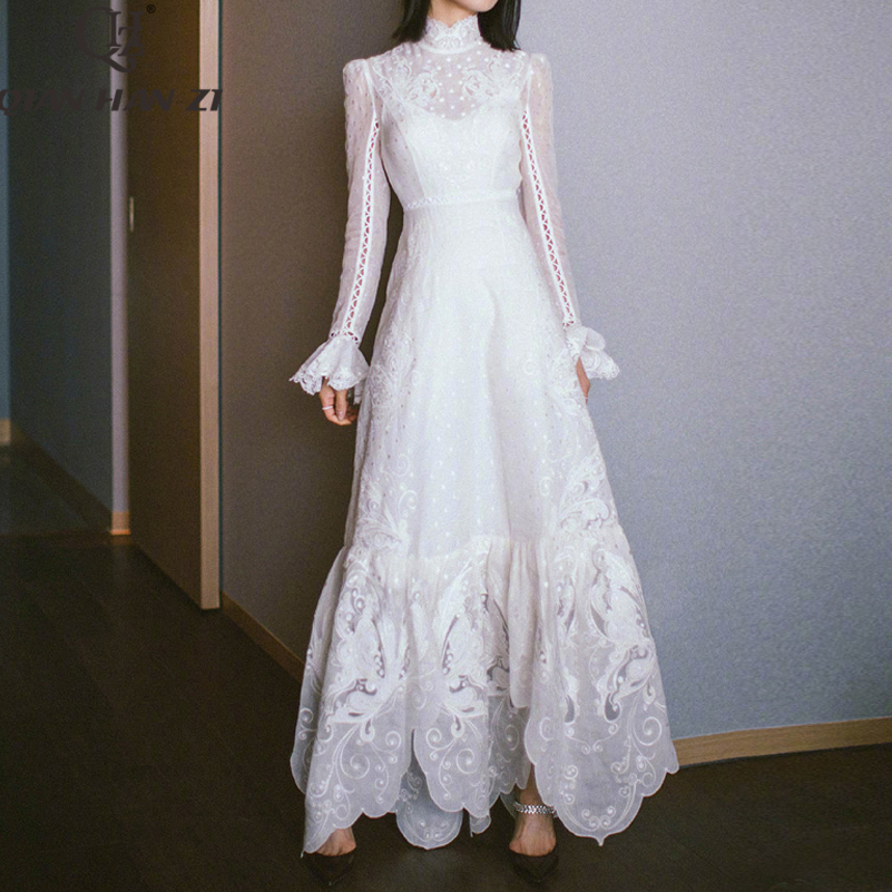 Qian Han Zi 2020 Designer Fashion Summer Maxi Dress Women Long Sleeve High Quality Embroidered Openwork Elegant White Long Dress