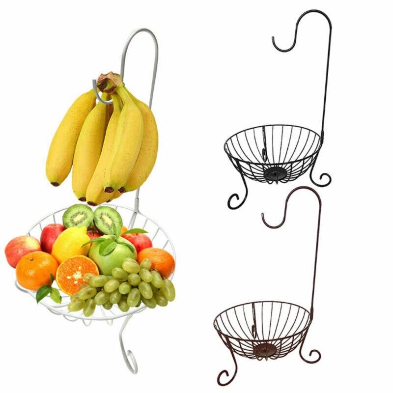 Kitchen Bronze Novelty Metal Fruit Basket Detachable Banana Hanger Holder Hook
